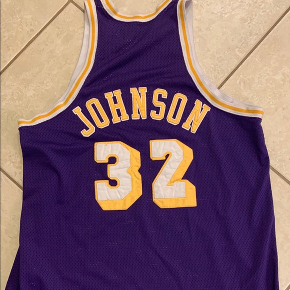 on sale da0d2 90477 LA Lakers Magic Johnson Hardwood Classic Jersey